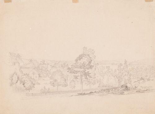 Maisema, kartano, metsää ja järviä, Lindö, Tenhola
