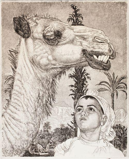 Berberi Tüdruk kamelin kanssa