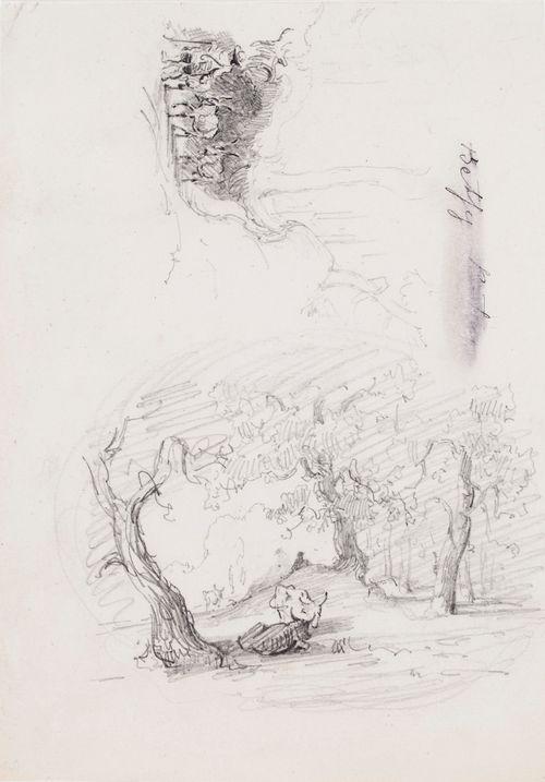 Kaksi maisemaharjoitelmaa: oikealla lehmiä lehtipuiden alla, vasemmalla mies kulkemassa kolmen aasin kanssa