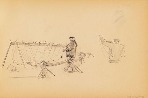 Kalastaja selvittää verkkoja