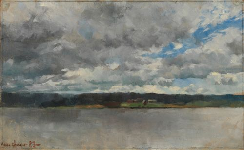Rain Clouds over a Lake Landscape
