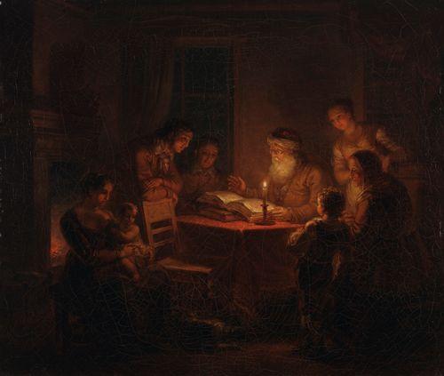 Juutalainen rabbiini lukemassa raamattua perheelleen