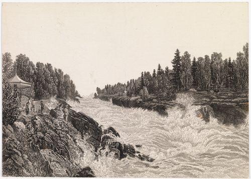 """Imatra B. Lindholmin maalauksen mukaan. Kuvitusta teokseen """"En resa i Finland"""" kuva 7"""