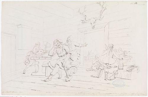 """Ilmarisen koti-ikävä ; Originaalipiirustus piirrossarjaan """"Kalewala, Finsk National-dikt, framställd i teckningar af R.W.Ekman"""""""