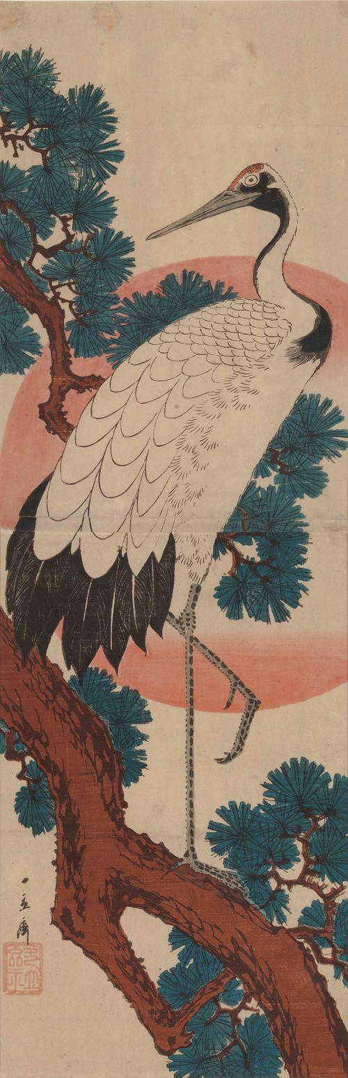Haikara männynoksalla. Kacho-ga (Kuvia linnuista ja kukista)