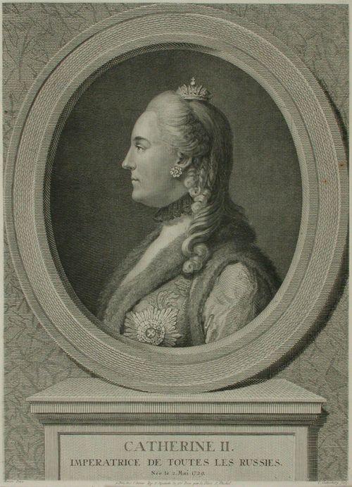 Katariina II (rintakuva soikiossa, sivulta)