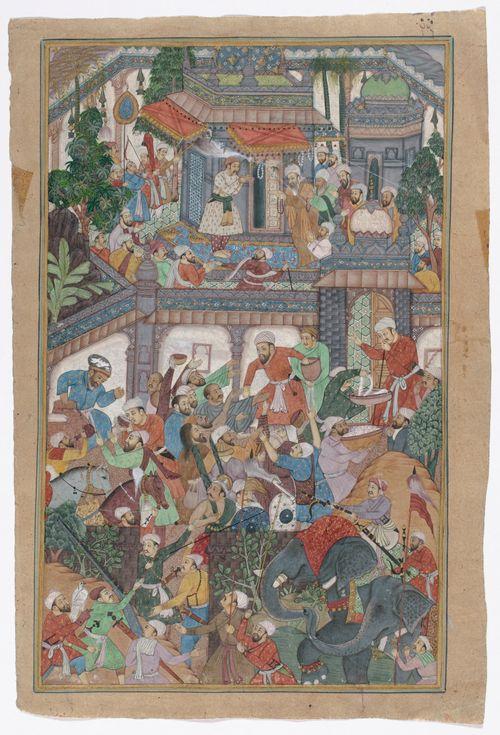 Intialainen miniatyyri, aihe juhlakohtaus