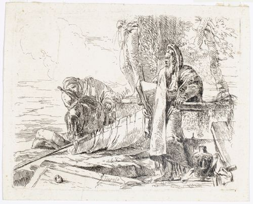 Seisova filosofi kädessään suurikokoinen kirja, sarjasta  Vari Capricci
