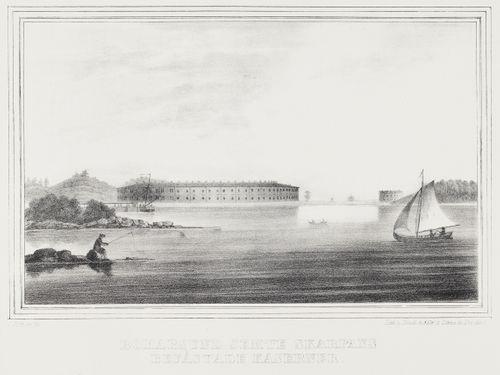 Bomarsund ja Skarpansin linnoitetut kasarmit, kuvitusta teokseen Finland framställdt i teckningar, vihkot XVIII ja XIX