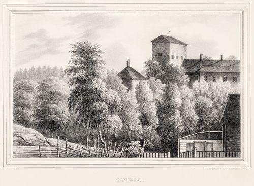 Kuitian kartano, kuvitusta teokseen Finland framställdt i teckningar, vihkot XXII ja XXIII