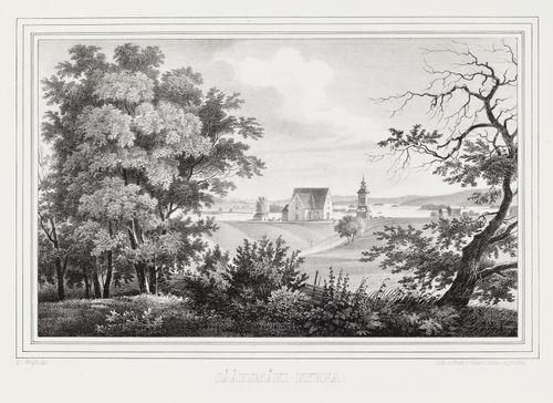Sääksmäen kirkko, kuvitusta teokseen Finland framställdt i teckningar, vihkot XXIV-XXVII