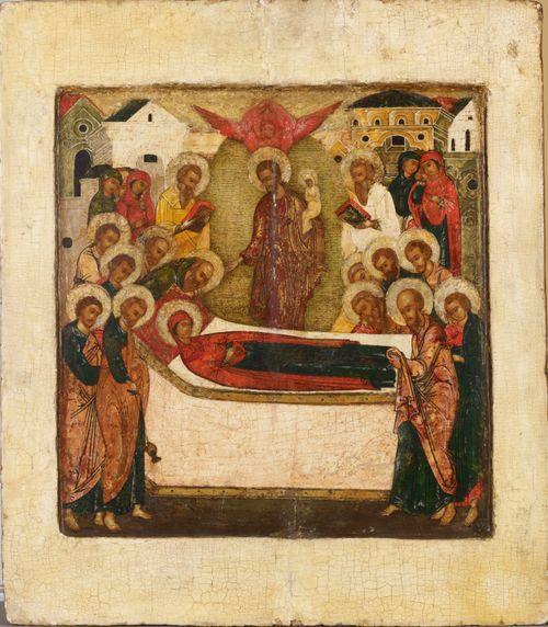 Jumalanäidin kuolonuneen nukkuminen, venäläinen ikoni