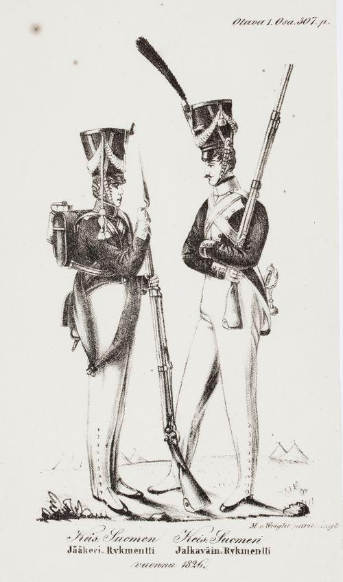 Suomalainen jääkäri ja jalkaväen sotilas ; kuvitusta C. A. Gottlundin Otavaan
