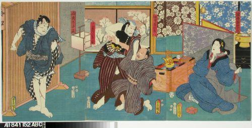 Näyttelijät Onoe Baiko, Ichikawa Ichizo, Ichikawa Kodanji IV ja Ichikawa Danjuro VIII näytelmässä Genyadana (Heikkoluonteisen Yosaburon tarina)