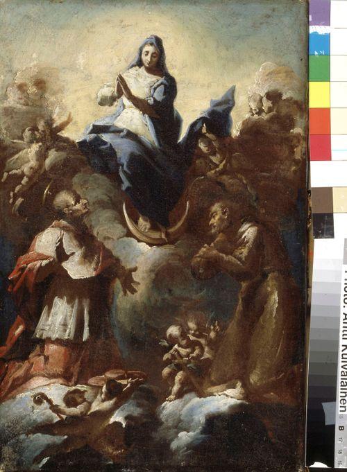 Neitsyt Maria kuunsirpillä ja kaksi pyhimystä