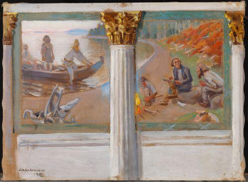 Lönnrot ja runonlaulajat, luonnos Helsingin yliopiston juhlasalin seinämaalaukseksi