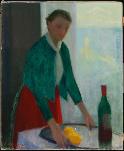 Nainen, viinitarjotin ja kaksi sitruunaa