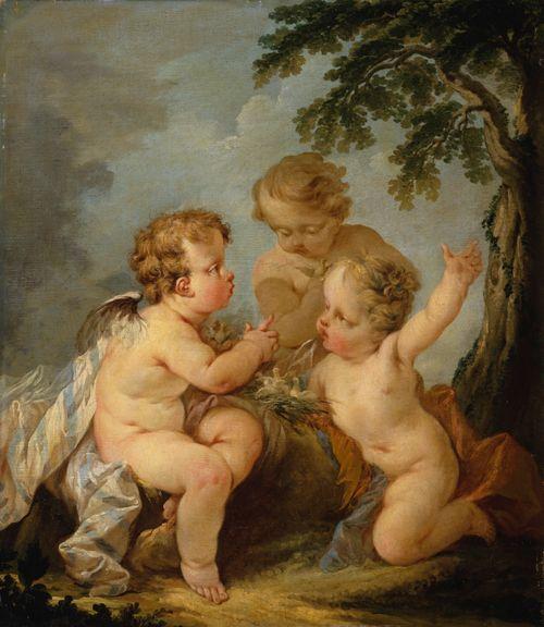 Kolme linnunpesällä leikkivää amoriinia
