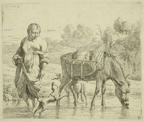 Rannalla kahlaava nainen