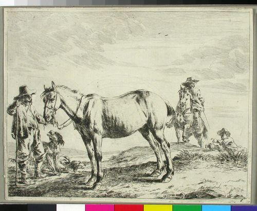 Hevosta pitelevä mies ja koiria vasemmalla, ratsastaja oikealla