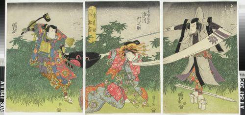 Näyttelijät Onoe Kikugoro III, Ichikawa Monnosuke ja Seki Sanjuro II näytelmässä Ise heishi ume no mitekura (Jumalille uhrattu luumupuu)