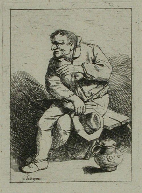 Lierihattu kourassa penkillä istuva mies (Le paysan au chapeau bas)