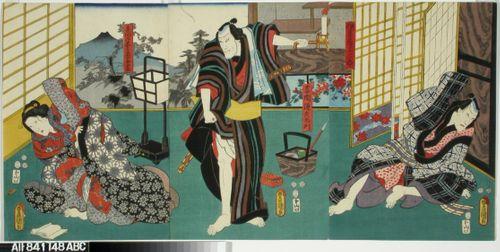 Näyttelijät Ichikawa Danjuro VIII, Seki Sanjuro III ja Onoe Baiko näytelmässä Genyadana (Heikkoluonteisen Yosaburon tarina)