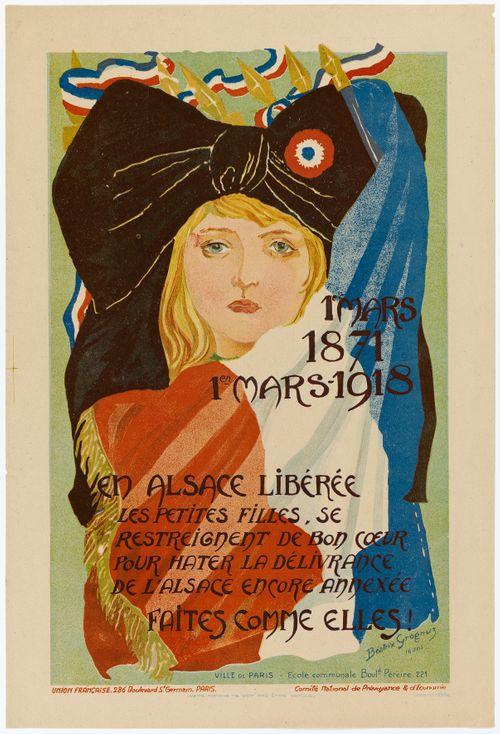 En Alsace libérée les petites filles, se restreignent de bon coeur pour hâter la déliverance de l''Alsace encore annedéxe. Faites comme elles (juliste)