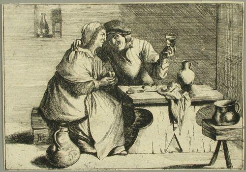 Talonpoikaispari, miehellä lasi kädessä