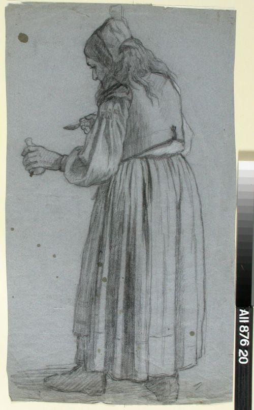 Lääkepullo vasemmassa ja lusikka oikeassa kädessä melkein selin seisova vanhahko nainen