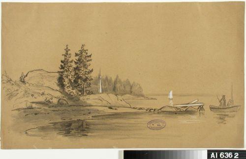 Rantamaisema. Keskellä laituri, jonka vieressä kaksi henkilöä veneessä. Taustalla purjevene. Vasemmalla purjeveneen masto.