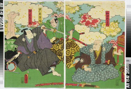 Näyttelijät Ichikawa Danzo VI ja Bando Hikosaburo(?) näytelmässä Kazashi no hana megumi no Takatsuna (Kukka Takatsunan hiuksissa)
