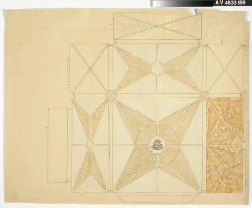 Koko holvisto plaanissa, luonnos Tampereen tuomiokirkon (Johanneksen kirkko) maalauksiin