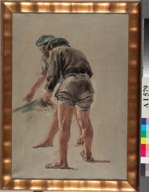 Kaksi italialaista kalastajaa, harjoitelma Nuotanveto Korsikan rannikolla-nimistä maalausta varten