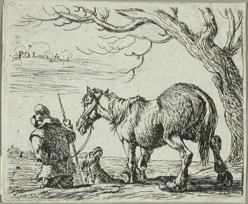 Talonpoika taluttaa hevosta