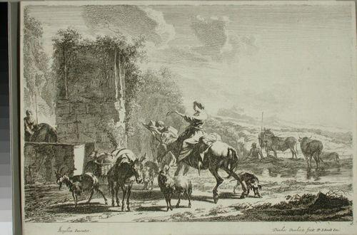 Paimenia ja karjaa juomapaikalla raunioiden luona