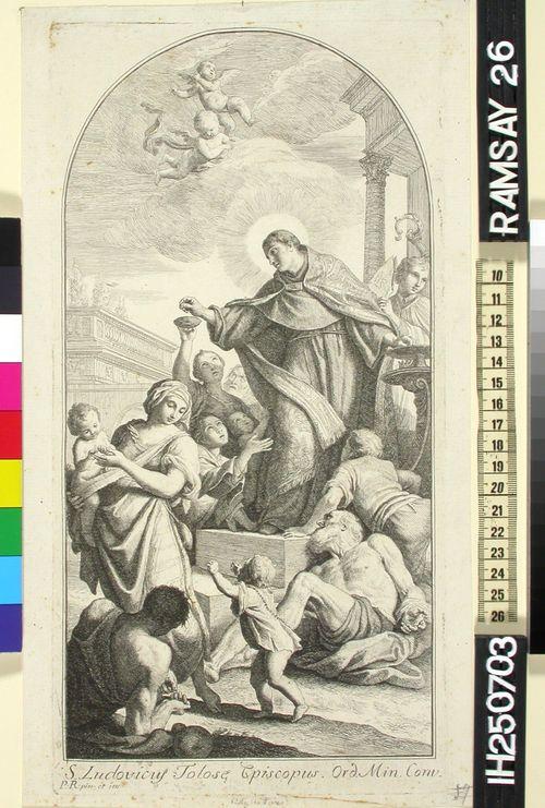 Toulousen piispa Pyhä Ludvig jakaa almuja