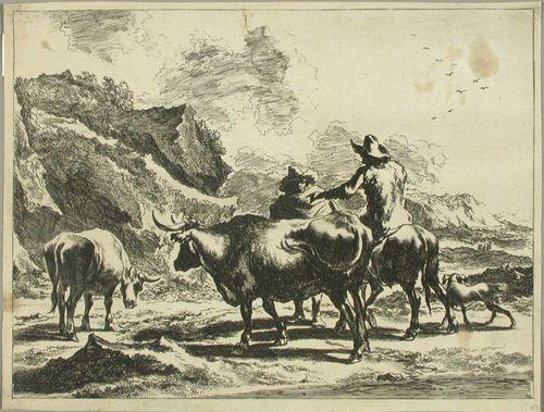 Aasilla ratsastava härkäpaimen