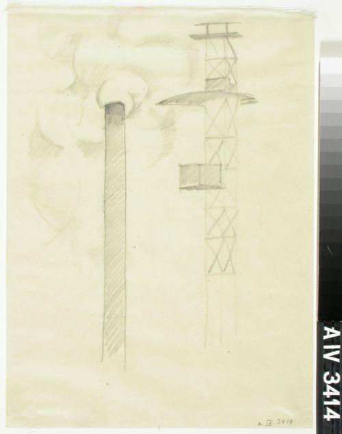 Tehtaan piippu ja torni