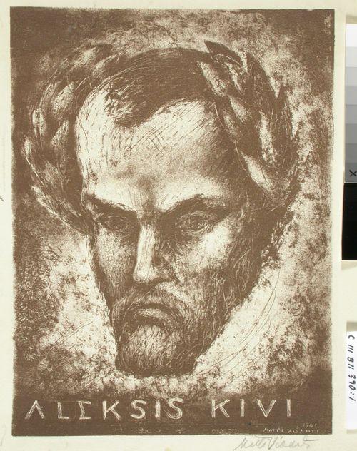 Kiven Kanervalan kuvitusta (1) ; Aleksis Kiven muotokuva