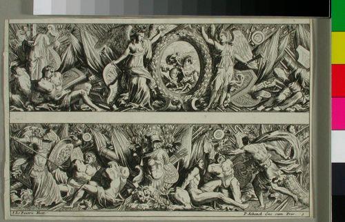 """""""Frizes Feuillages ou Tritons marins antiques et modernes..."""", 12 koristefriisin pätkää kuudella lehdellä"""