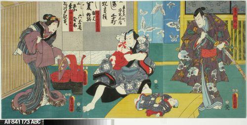 Näyttelijät Ichikawa Danjuro VIII, Ichikawa Kodanji IV ja Ichinojo näytelmässä Banzuiin Chobee
