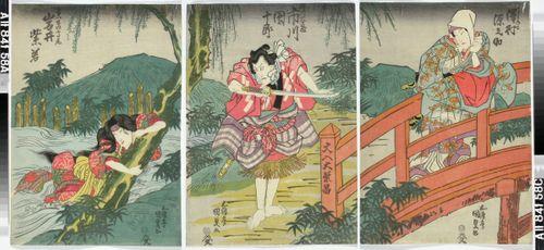 Näyttelijät Sawamura Gennosuke, Ichikawa Danjuro VII ja Iwai Shijaku näytelmässä Date kurabe O-Kuni kabuki (Tanssinäytelmä Daten sukuriidasta)