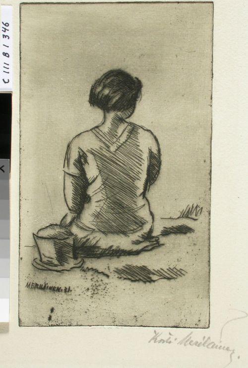 Istuva tyttö selästäpäin