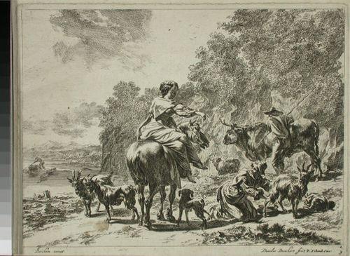 Hevosen selässä istuva paimentyttö ja vuohen lypsäjä