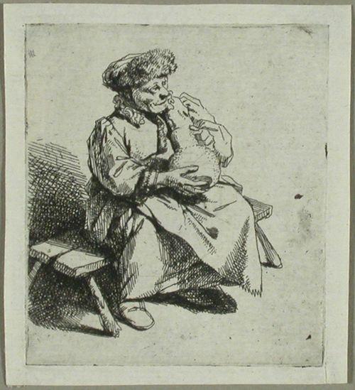 Vanha nainen ruukku sylissä (Vieille au grand pot)