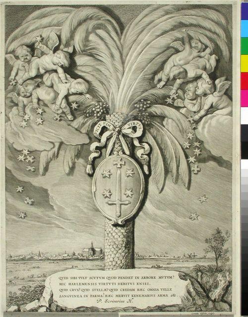 Haarlemin vaakuna, ripustettuna palmuun