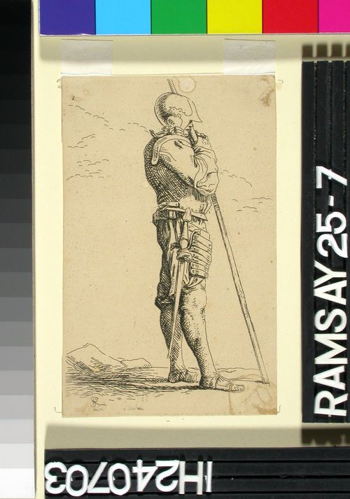 Haarniskoitu sotilas sauvansa nojassa