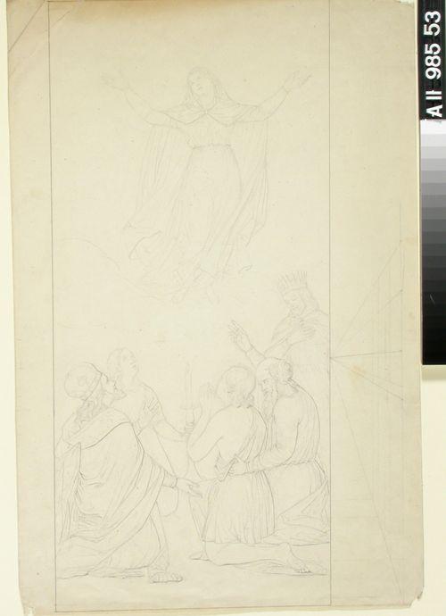 Neitsyt Marian kirkastus tai taivaaseenastuminen? Liitelevä nainen valon ympärille polvistuneen neljän miehen yllä. Oikealla Kristus kruunu päässä.