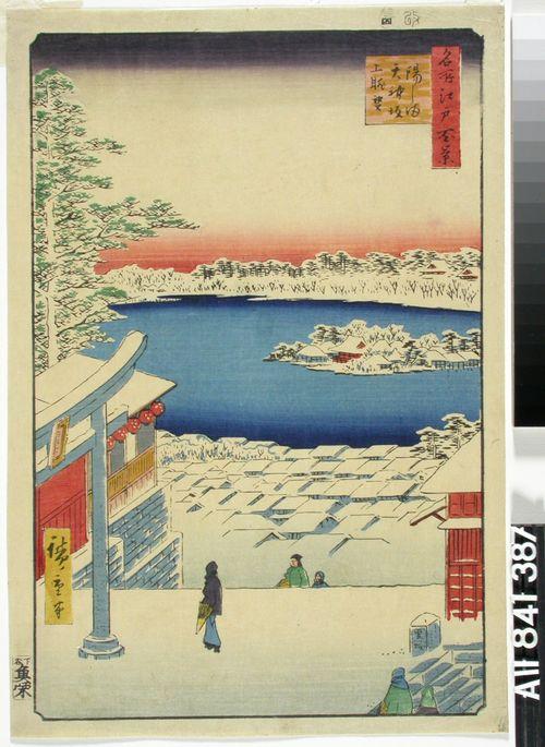 Näkymä Yushima Tenjin pyhäköltä Shinobazun lammelle. Sarjasta Edon sata kuuluisaa näkymää.